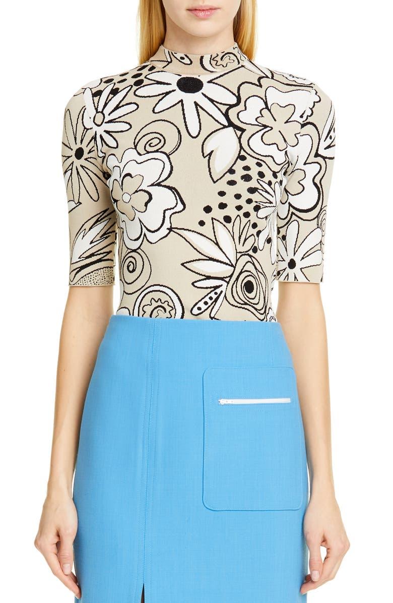 KWAIDAN EDITIONS Floral Jacquard Knit Top, Main, color, 250
