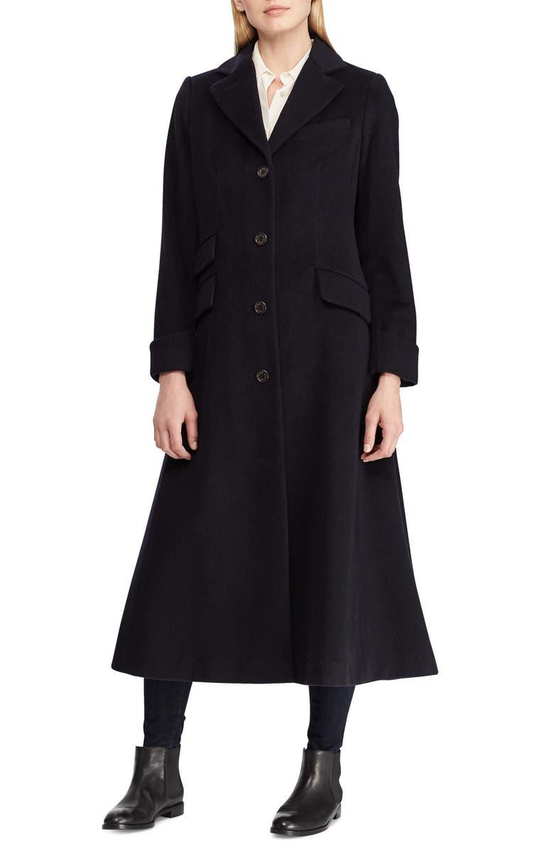 LAUREN RALPH LAUREN Wool Blend Reefer Coat, Main, color, REGAL NAVY