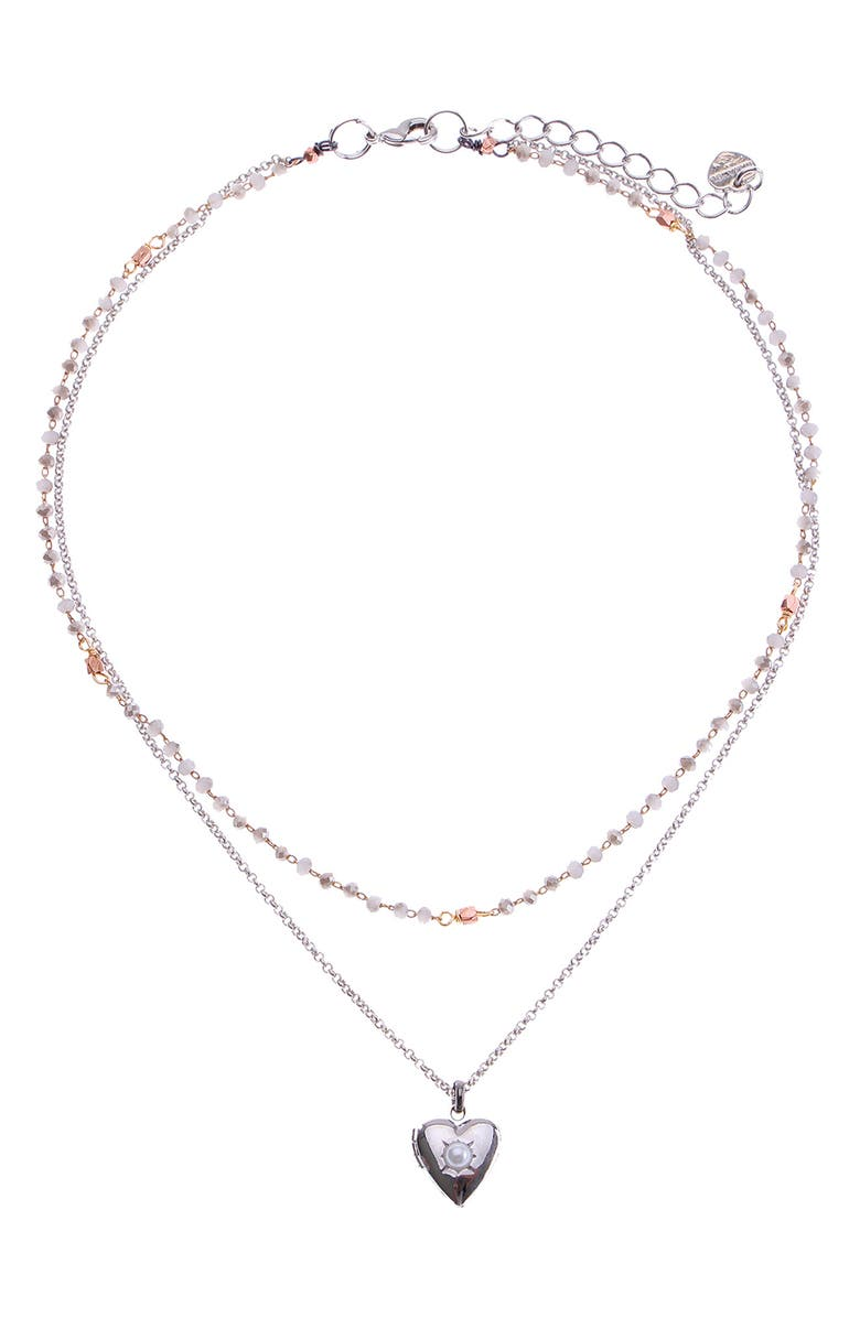 NAKAMOL CHICAGO 2-Layer Mini Heart Necklace, Main, color, SILVER