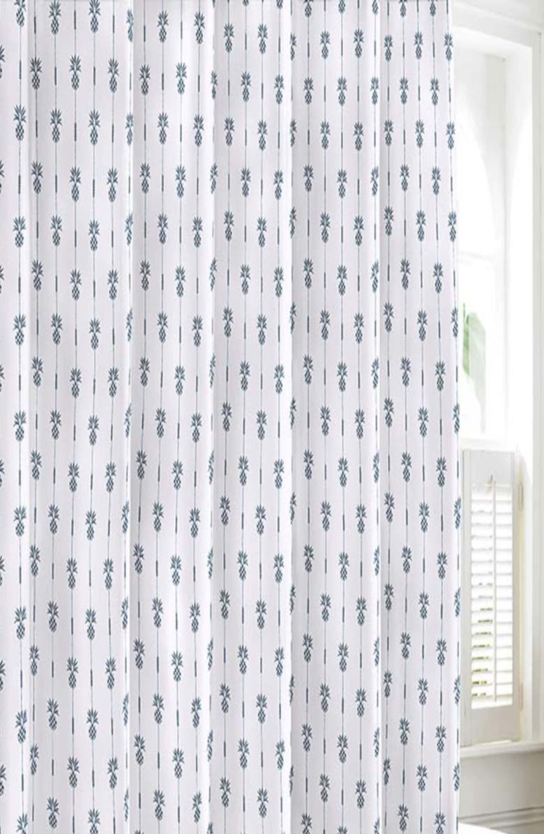 TOMMY BAHAMA Pineapple Pinstripe Shower Curtain, Main, color, MEDIUM BLUE