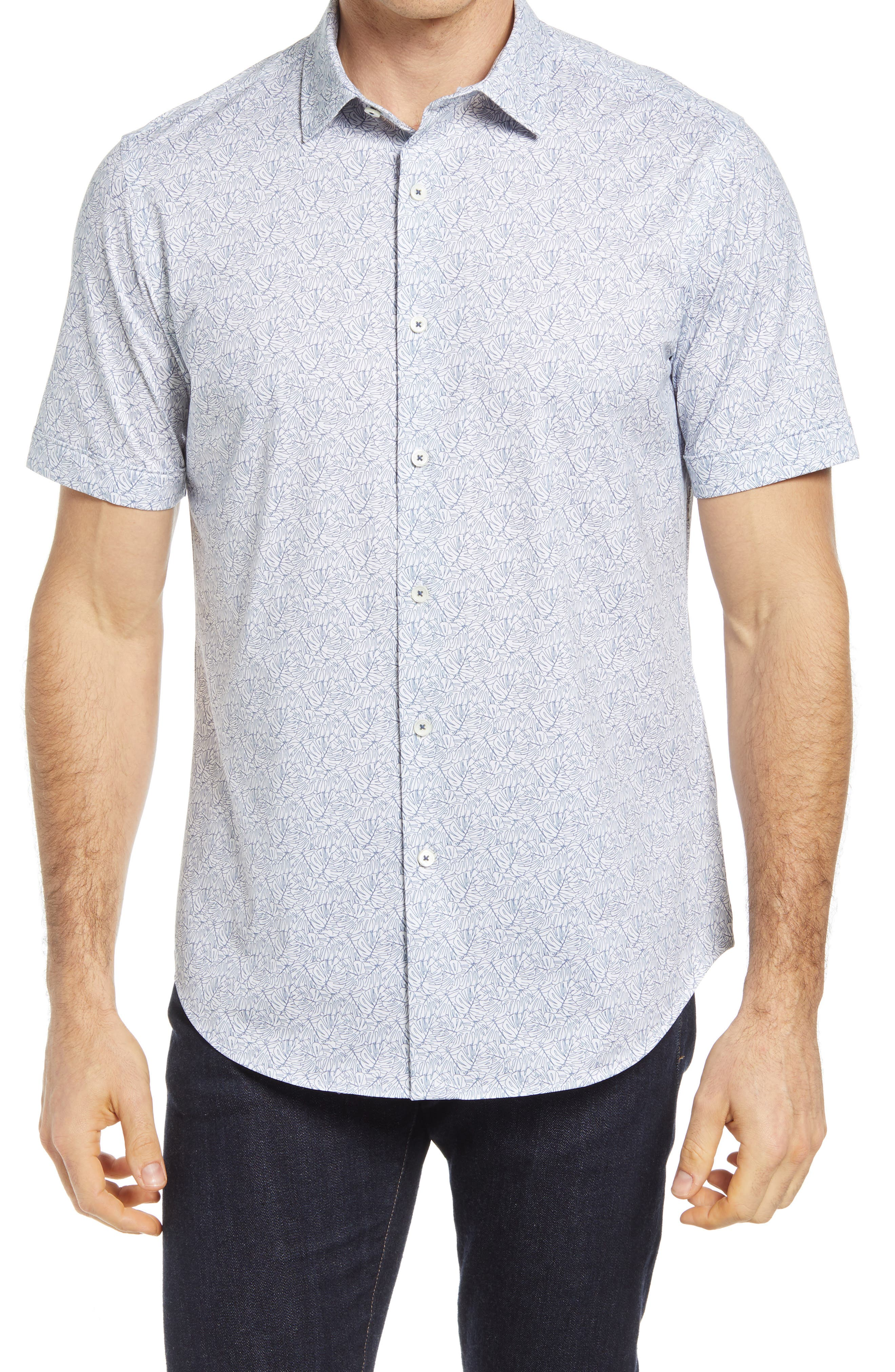 Ooohcotton Tech Print Knit Short Sleeve Button-Up Shirt