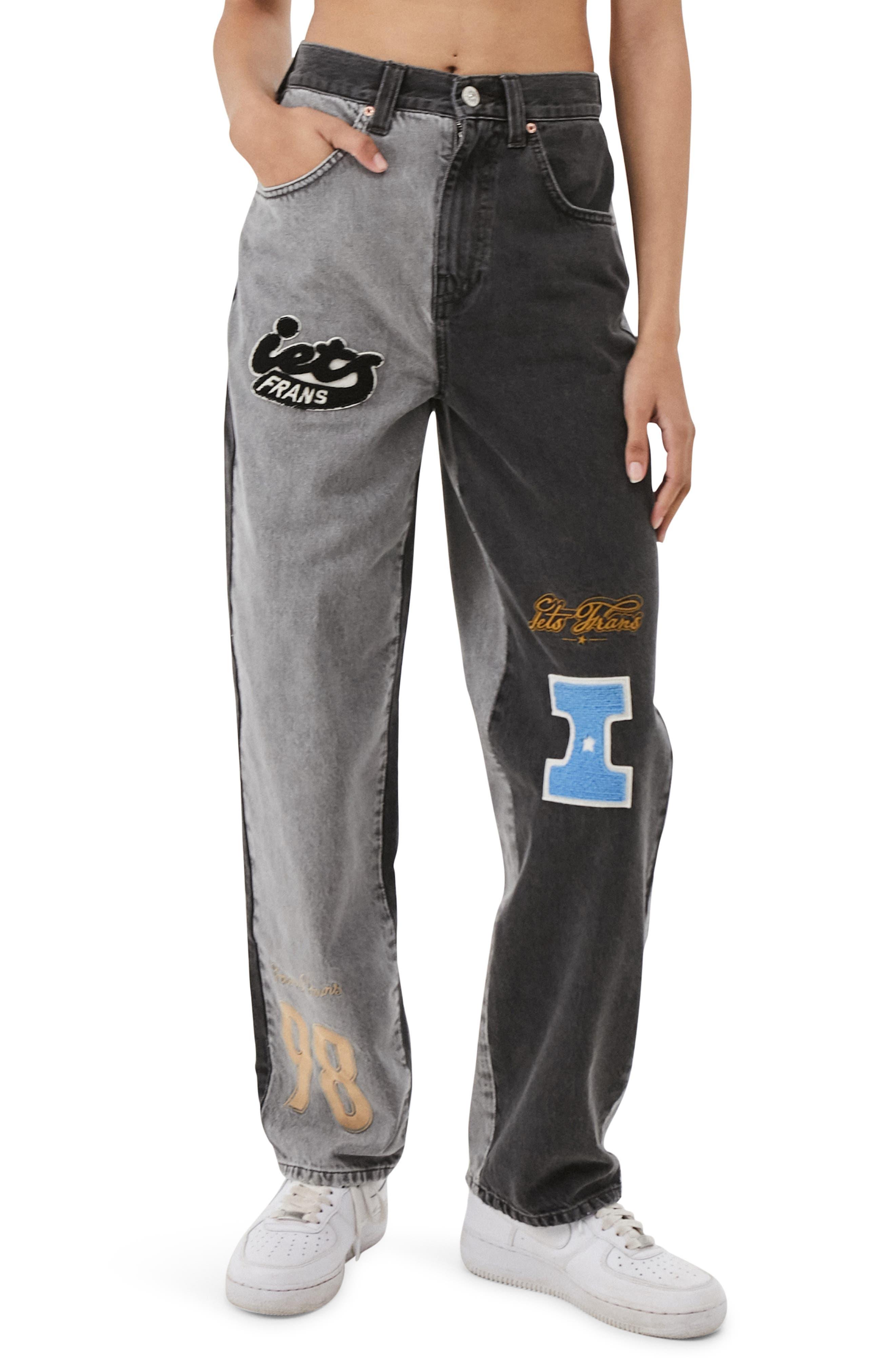 Spliced Varsity Patch Boyfriend Jeans