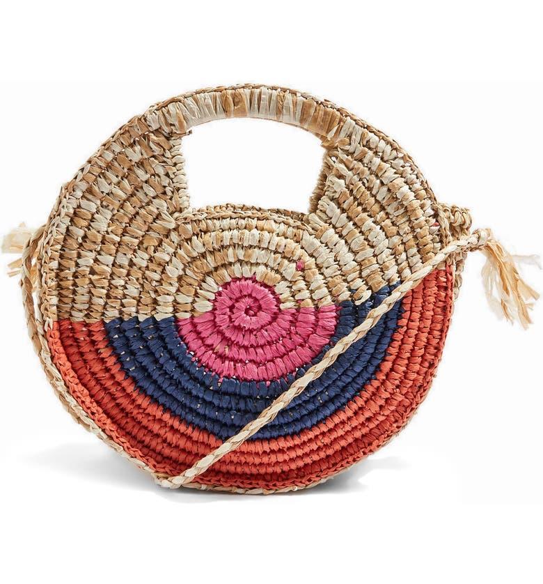 TOPSHOP Bright Snail Straw Tote Bag, Main, color, 250