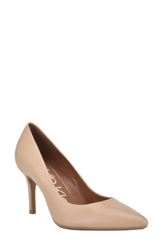 Calvin Klein Women's Gayle Pointy Toe Pumps Women's Shoes In Light Natural Leather