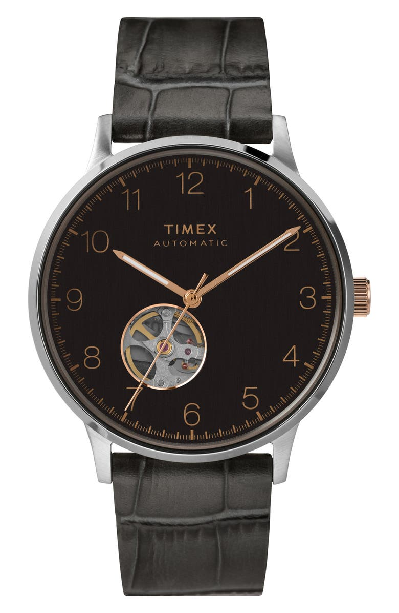 TIMEX<SUP>®</SUP> Waterbury Automatic Leather Strap Watch, 40mm, Main, color, GREY/ BLACK/ ROSE GOLD