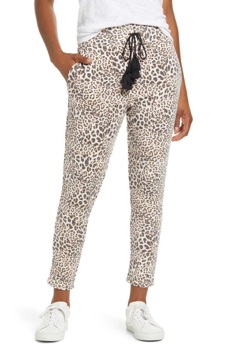 BOBEAU French Terry Crop Jogger Pants, Main, color, TAN LEOPARD