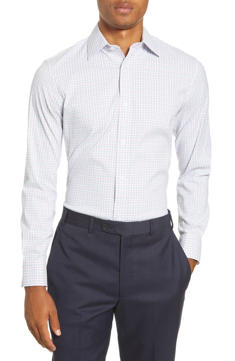 BONOBOS Slim Fit Stretch Performance Check Dress Shirt, Main, color, CLOVER PASS PLAID - CANNES