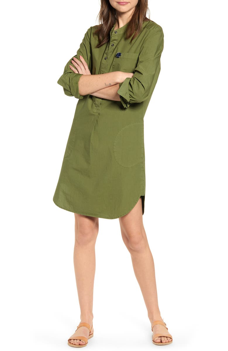 ALEX MILL Garment Dyed Popover Shirtdress, Main, color, ARMY GREEN