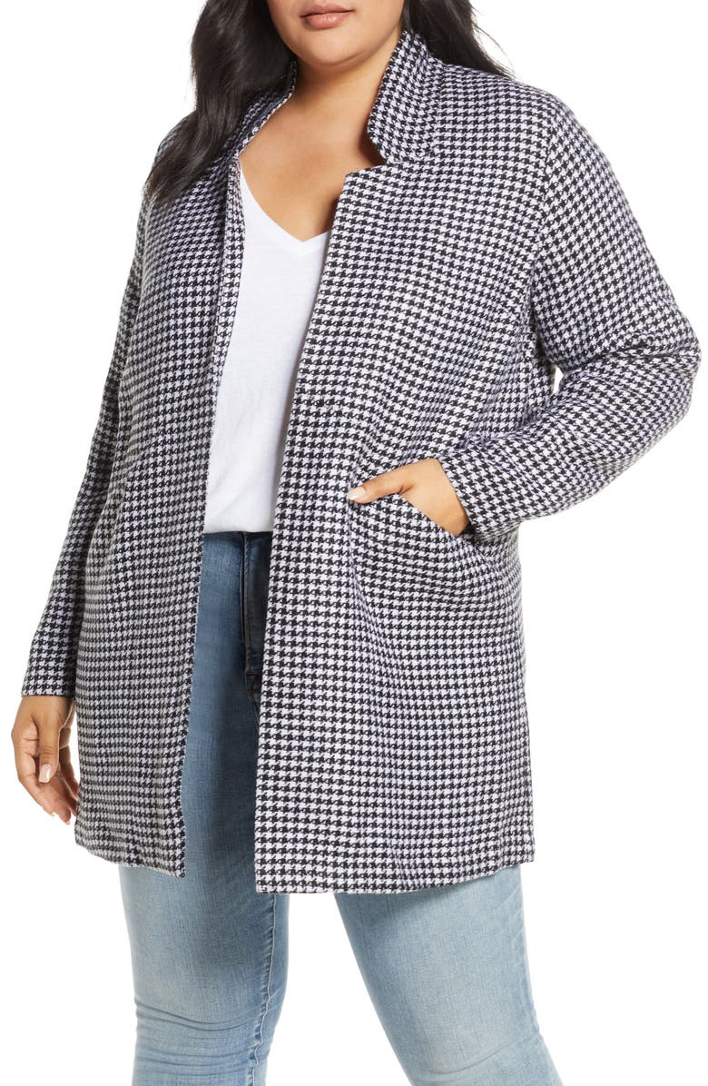CASLON<SUP>®</SUP> Houndstooth Check Double Weave Jacket, Main, color, BLACK WHITE HOUNSTOOTH PLAID