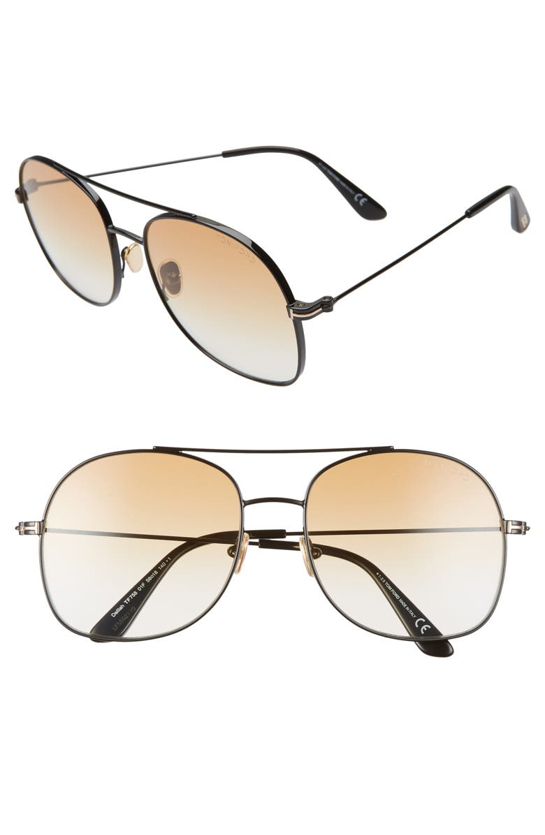 TOM FORD Delilah 58mm Tinted Aviator Sunglasses, Main, color, BLACK/ GRADIENT BROWN