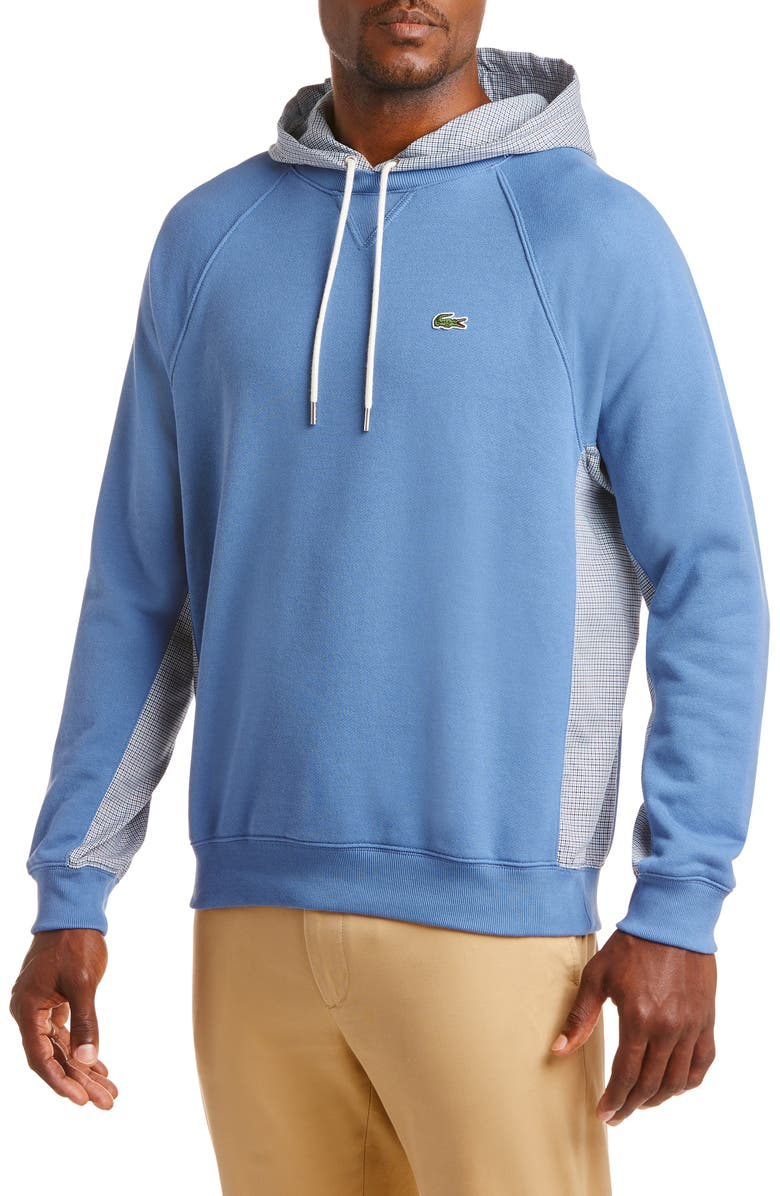 LACOSTE Mixed Media Pullover Hoodie, Main, color, KING/ MULTICO