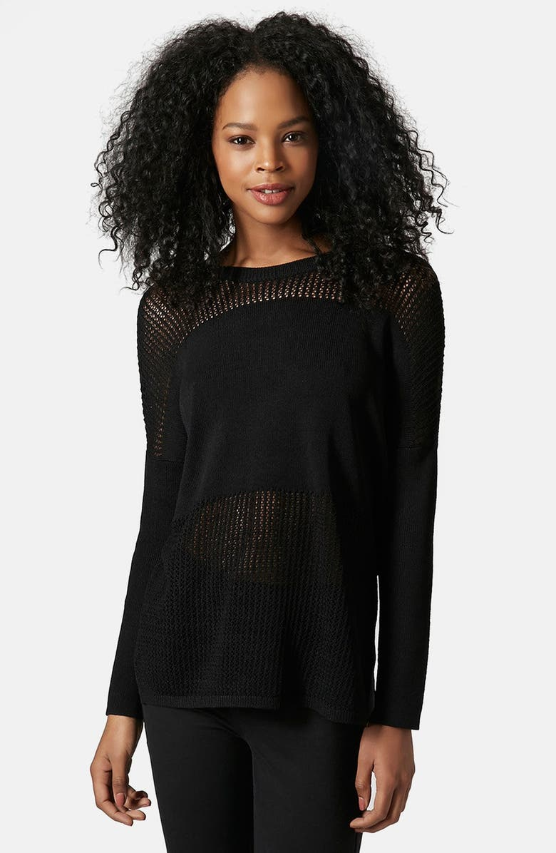 TOPSHOP Paneled Pointelle Sweater, Main, color, 001