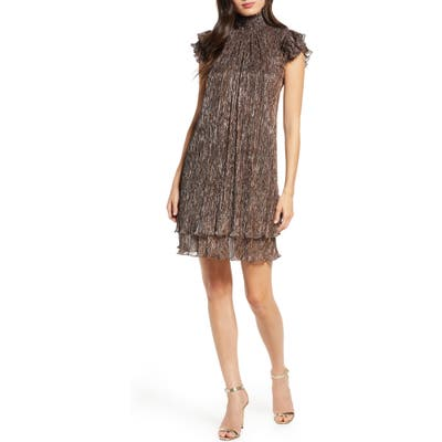 Petite Chelsea28 Mock Neck Metallic Shift Dress, Metallic