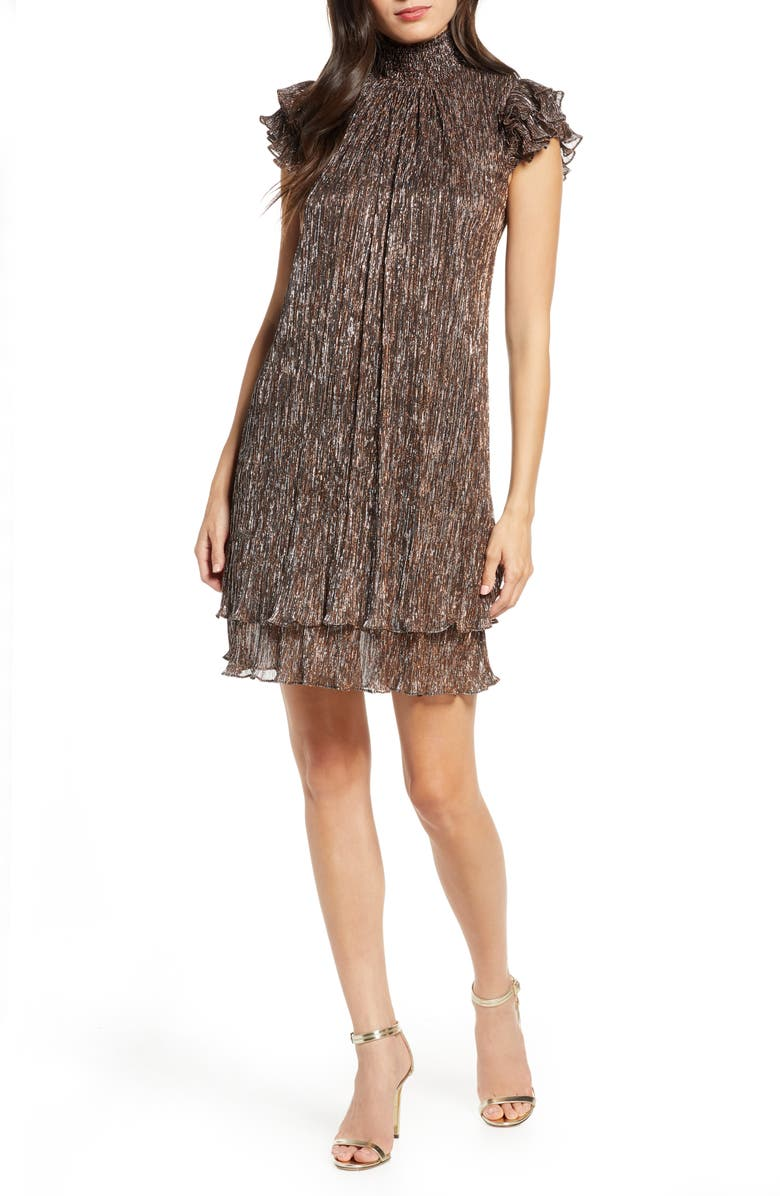 CHELSEA28 Mock Neck Metallic Shift Dress, Main, color, METALLIC COPPER