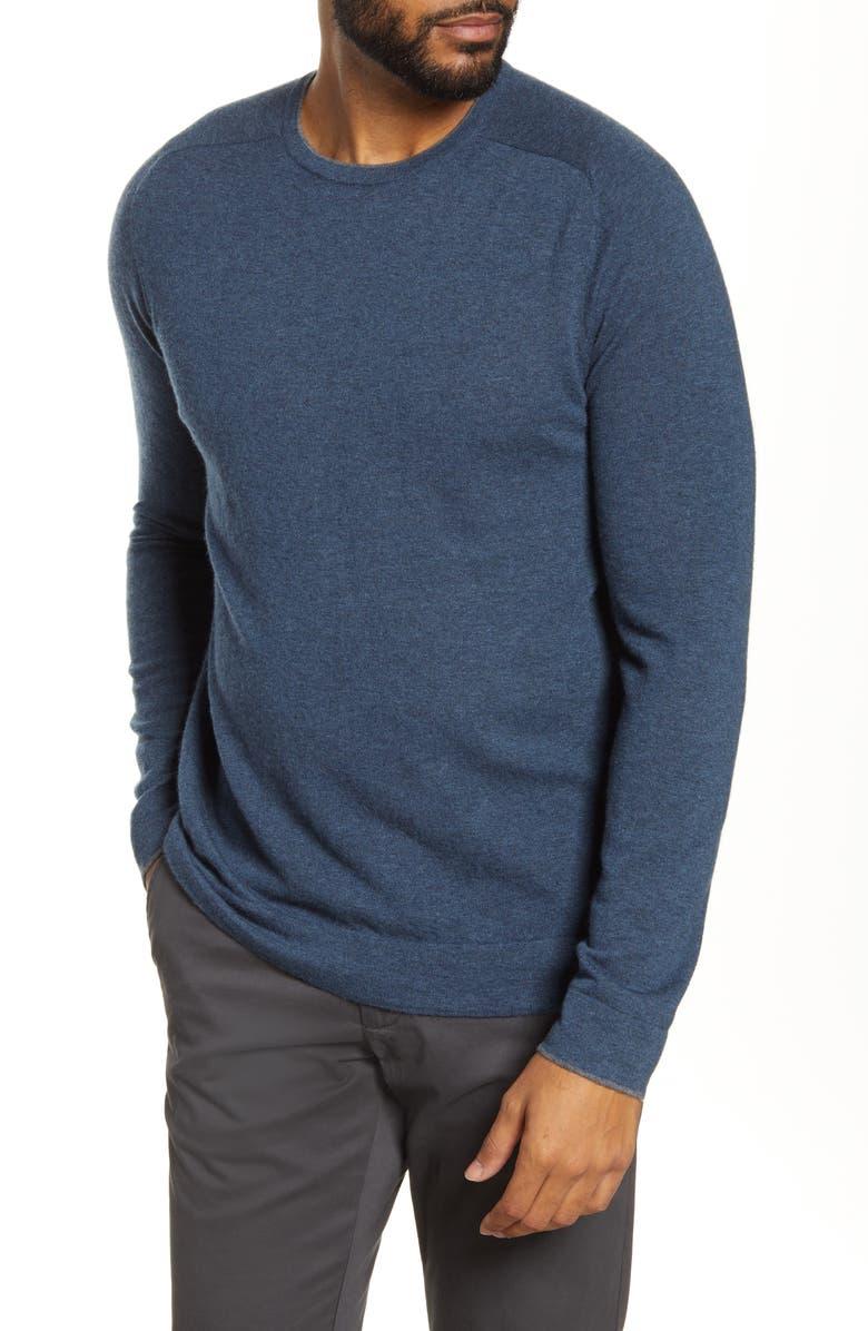 NORDSTROM SIGNATURE Cashmere Crewneck Sweater, Main, color, BLUE CERAMIC HEATHER