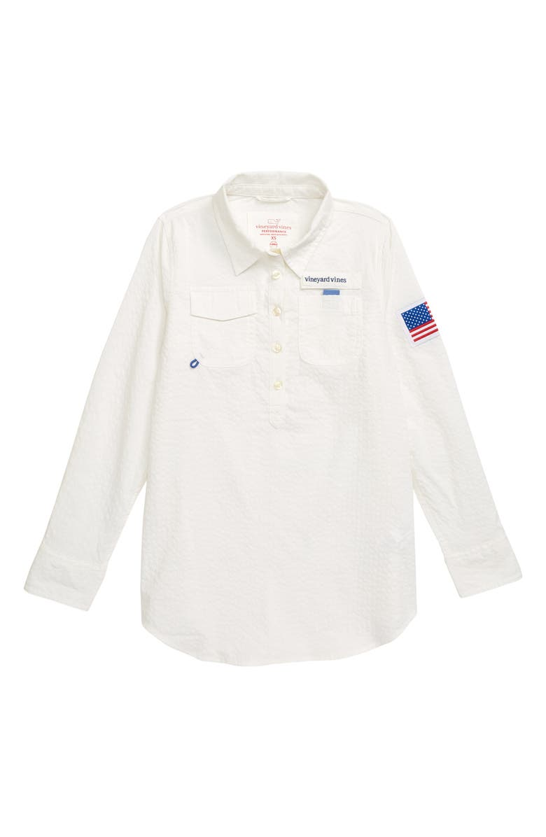 VINEYARD VINES Flag Patch Harbor Cover-Up Tunic, Main, color, 100