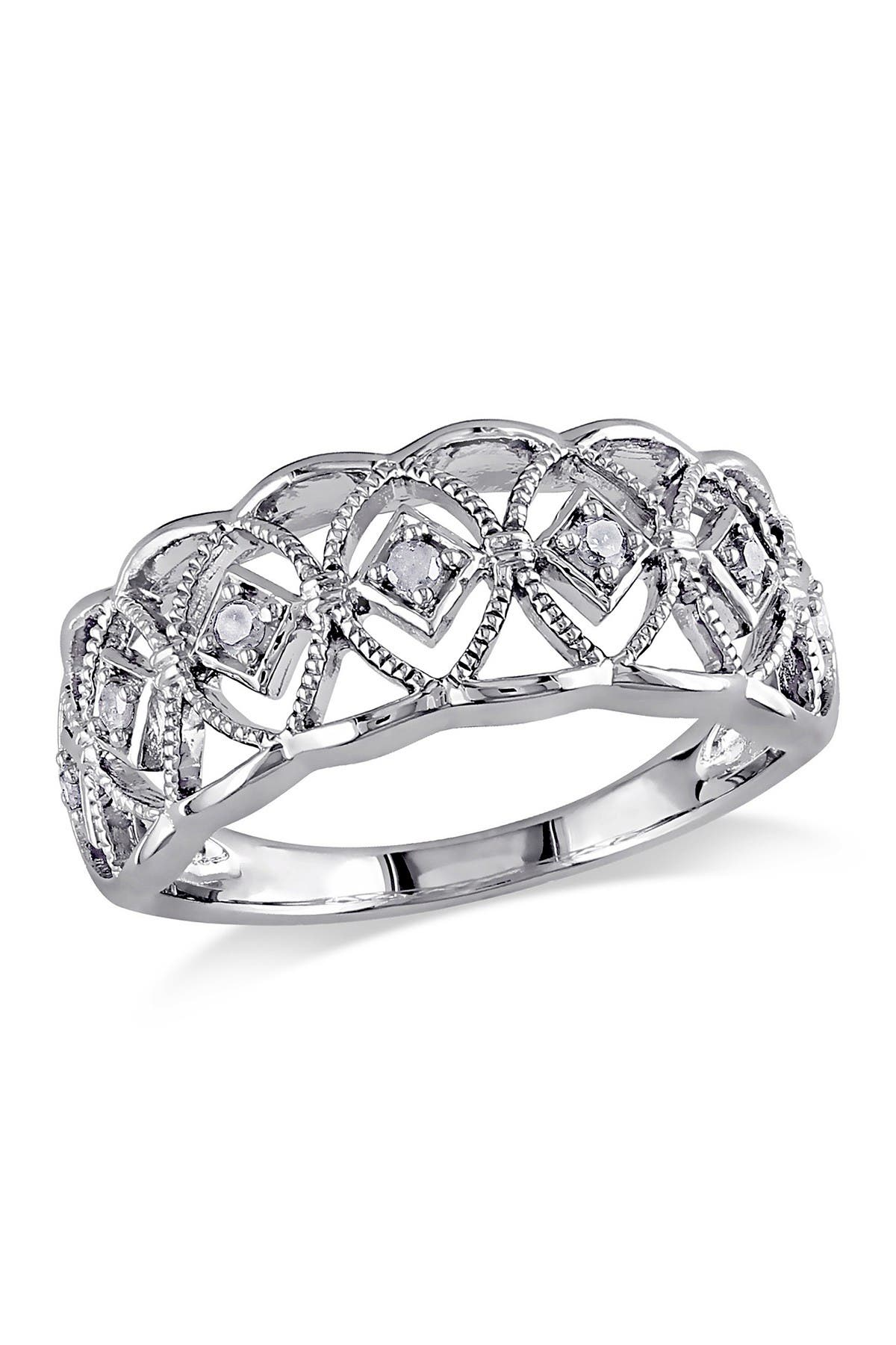Image of Delmar Sterling Silver Diamond Cutout Ring - 0.10 ctw
