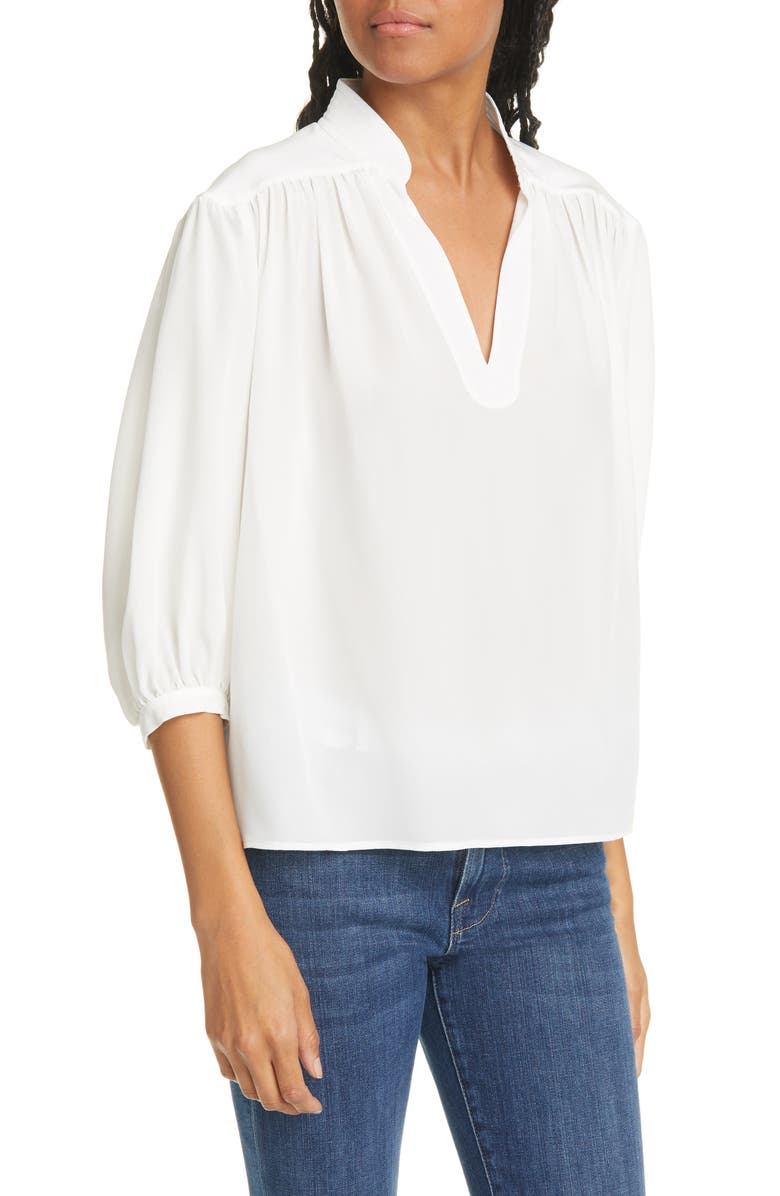 FRAME Cali Gathered Silk Top, Main, color, OFF WHITE