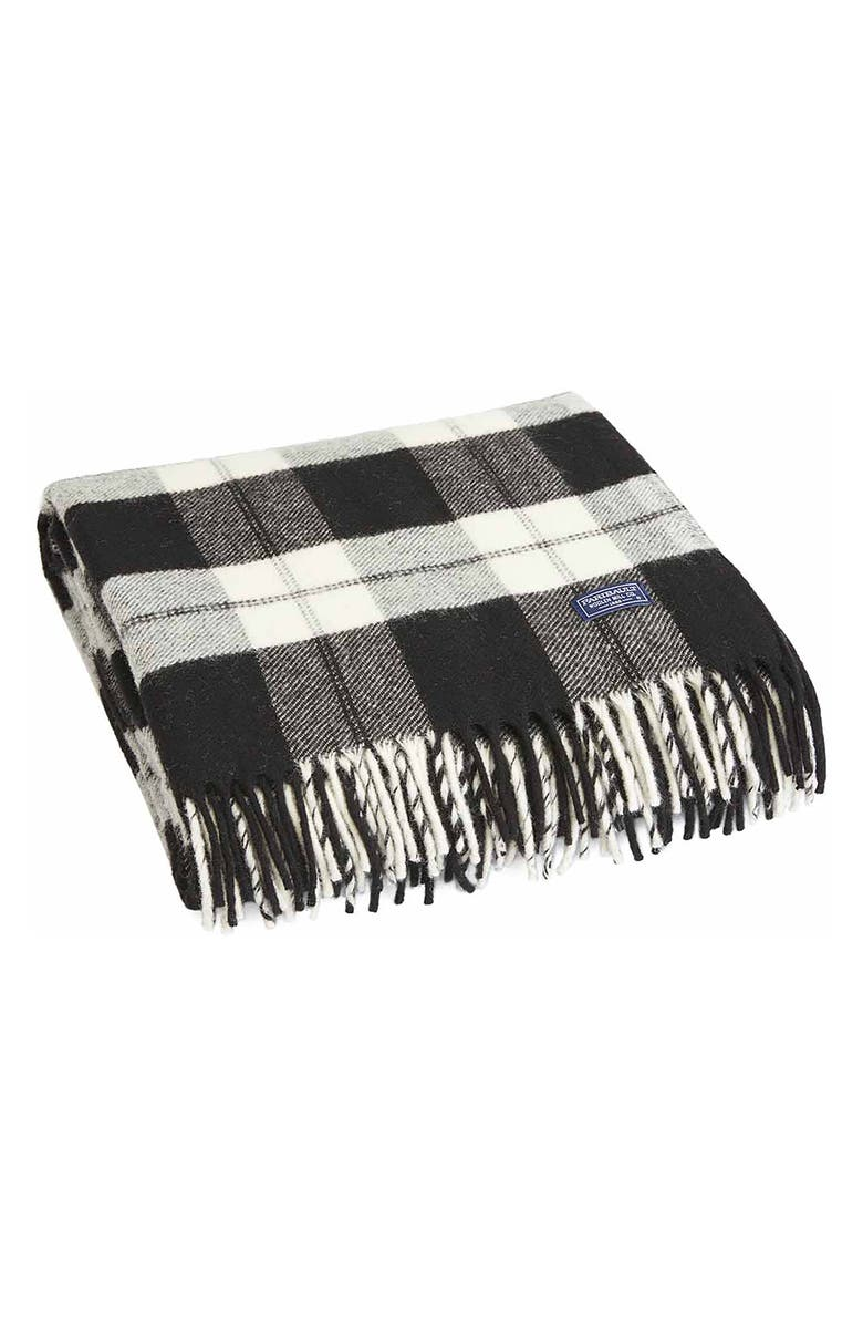 FARIBAULT WOOLEN MILL Bison Check Throw Blanket, Main, color, NATURAL