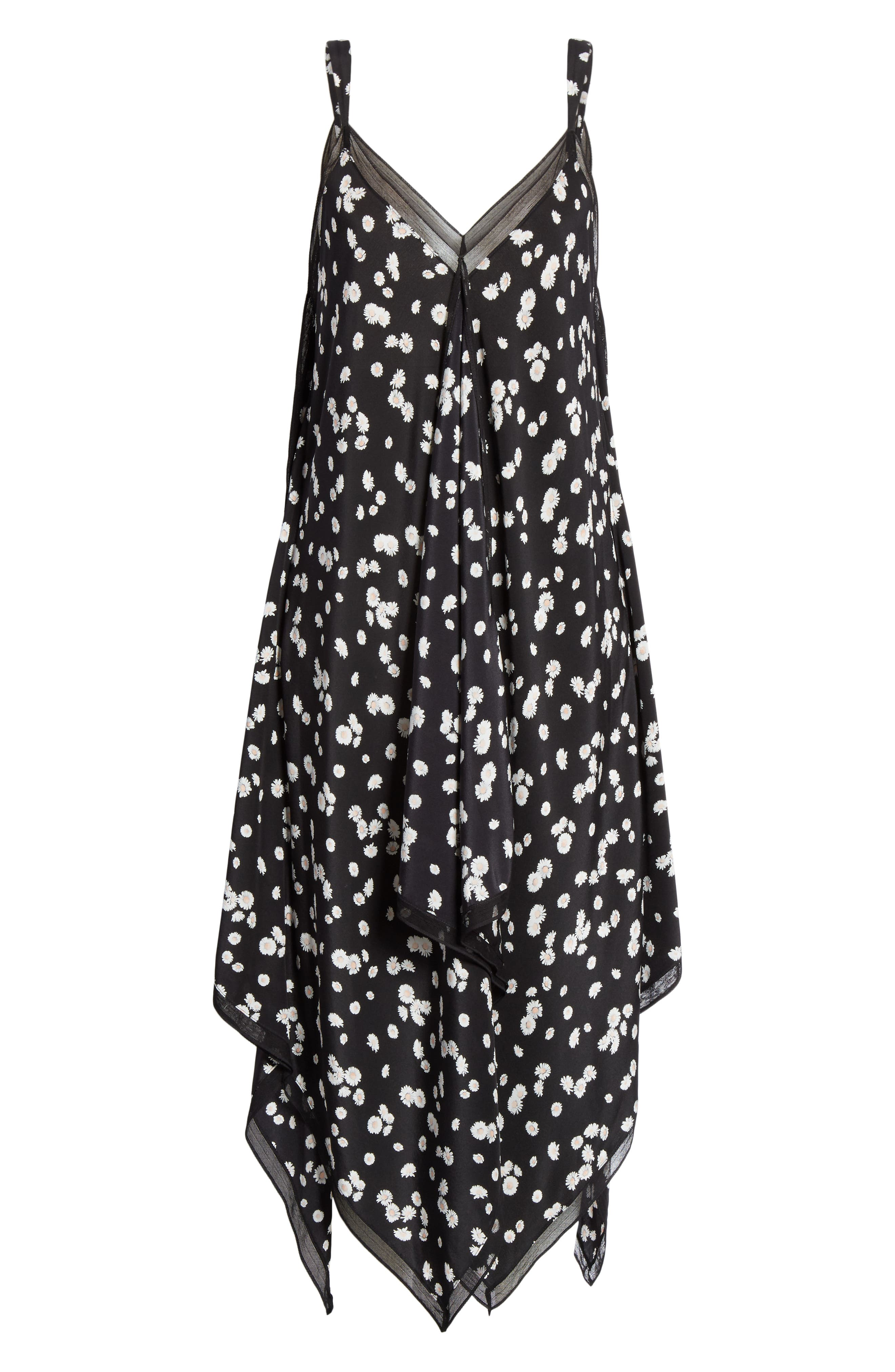 ,                             Spring Daisy Handkerchief Hem Dress,                             Alternate thumbnail 7, color,                             BLACK MULTI