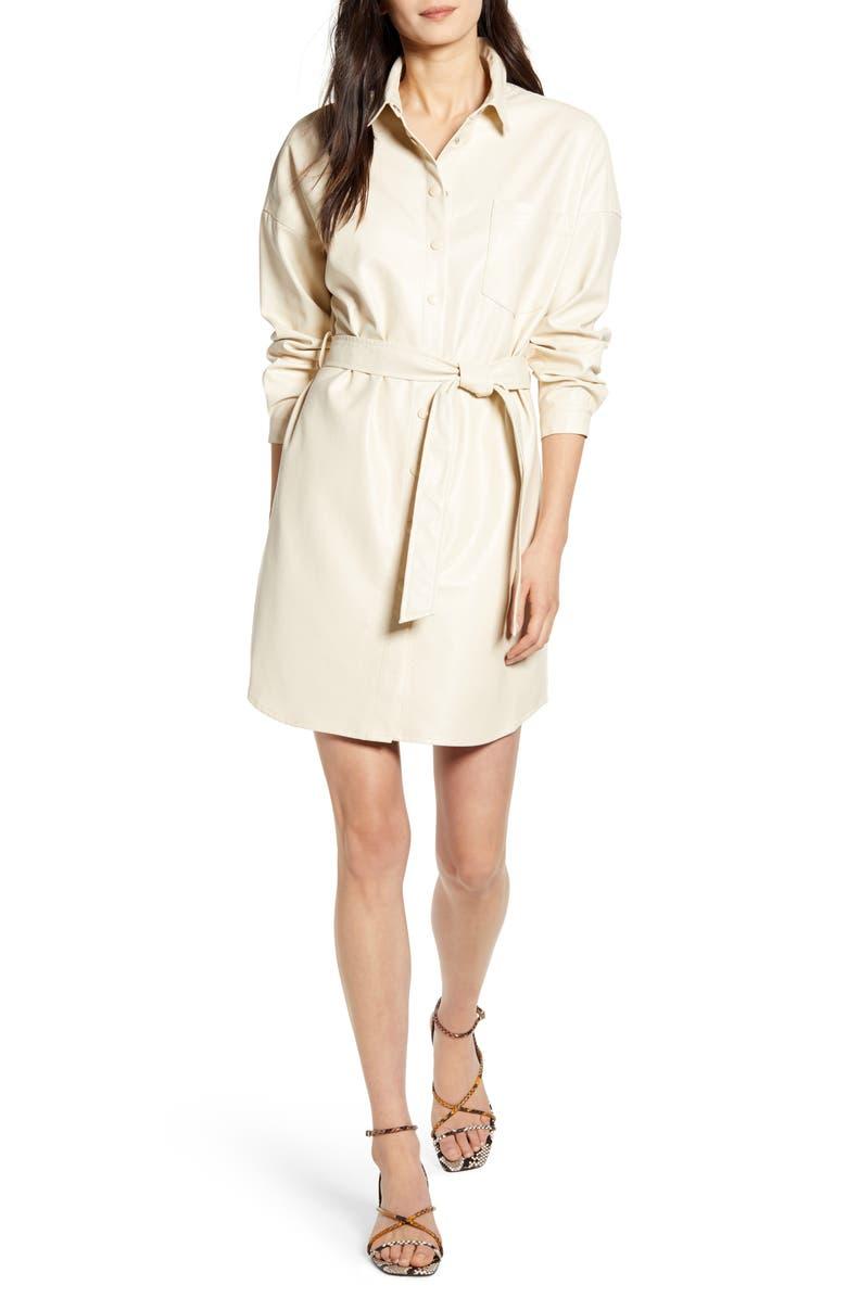 FRNCH Aidee Tie Waist Long Sleeve Shirtdress, Main, color, 250