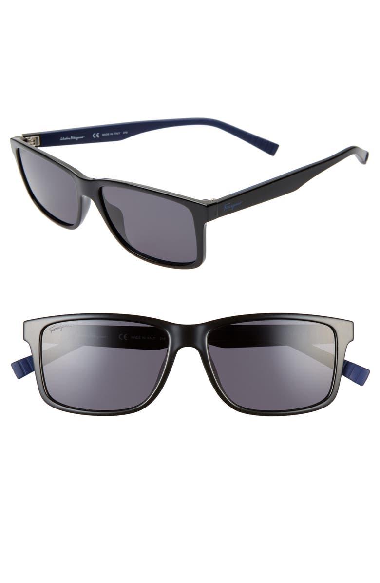 SALVATORE FERRAGAMO 57mm Square Sunglasses, Main, color, BLACK/ BLUE