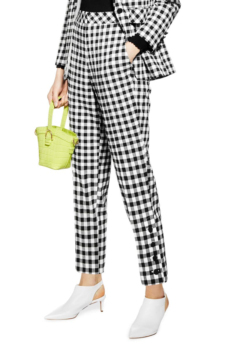 TOPSHOP Gingham Tapered Trousers, Main, color, BLACK MULTI