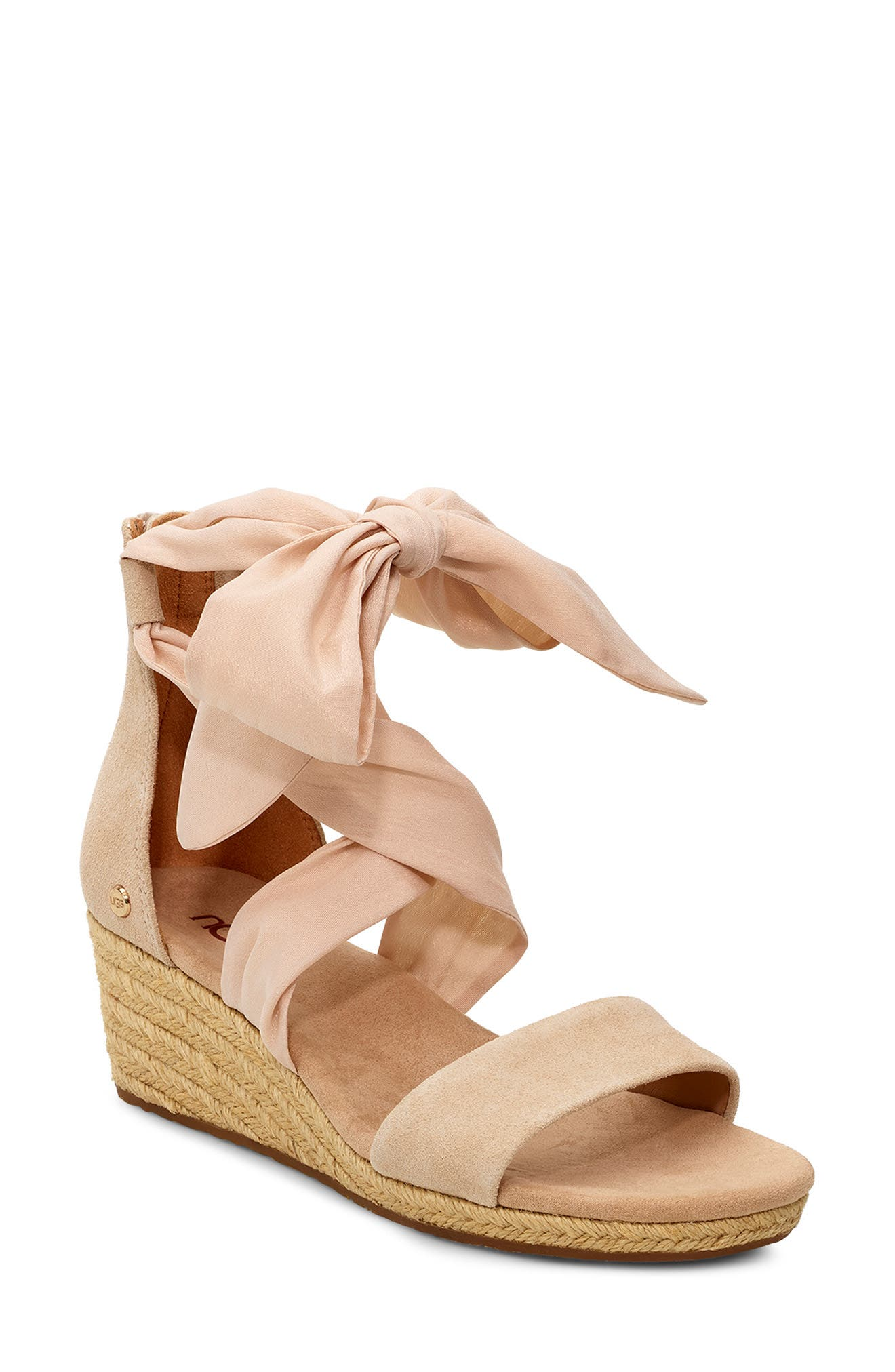 UGG® Trina Ribbon Tie Wedge Sandal (Women)