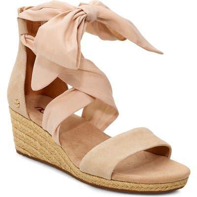 UGG Trina Ribbon Tie Wedge Sandal, Beige