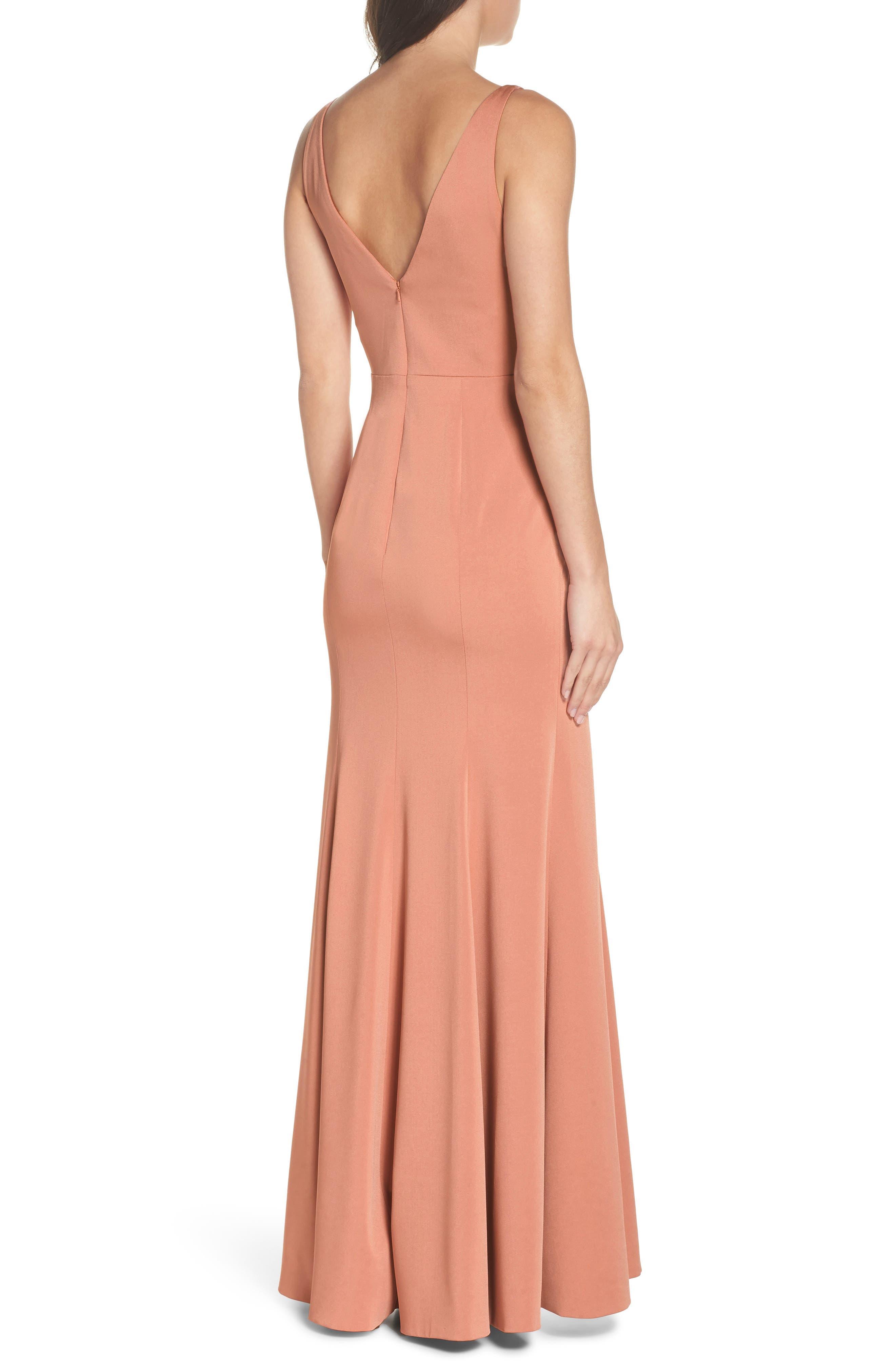 ,                             Jade Luxe Crepe V-Neck Gown,                             Alternate thumbnail 2, color,                             SEDONA SUNSET
