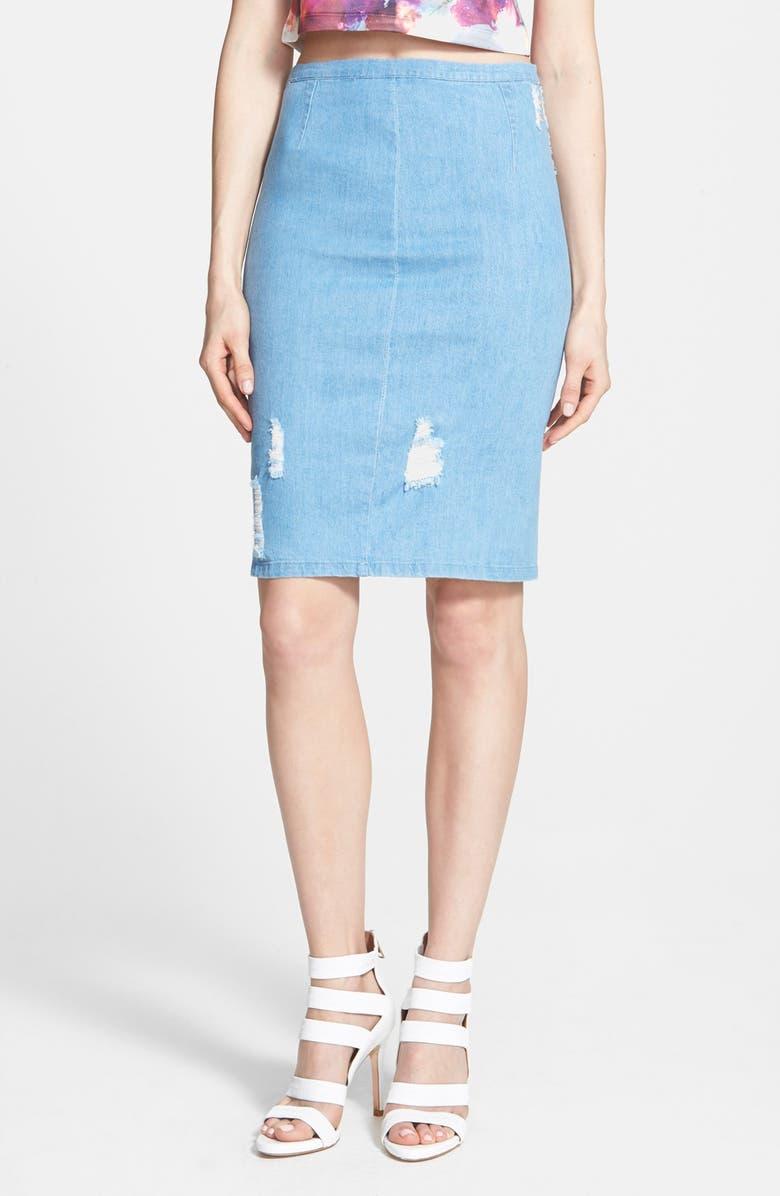 LUCY PARIS 'Britney' Ripped Denim Pencil Skirt, Main, color, 400