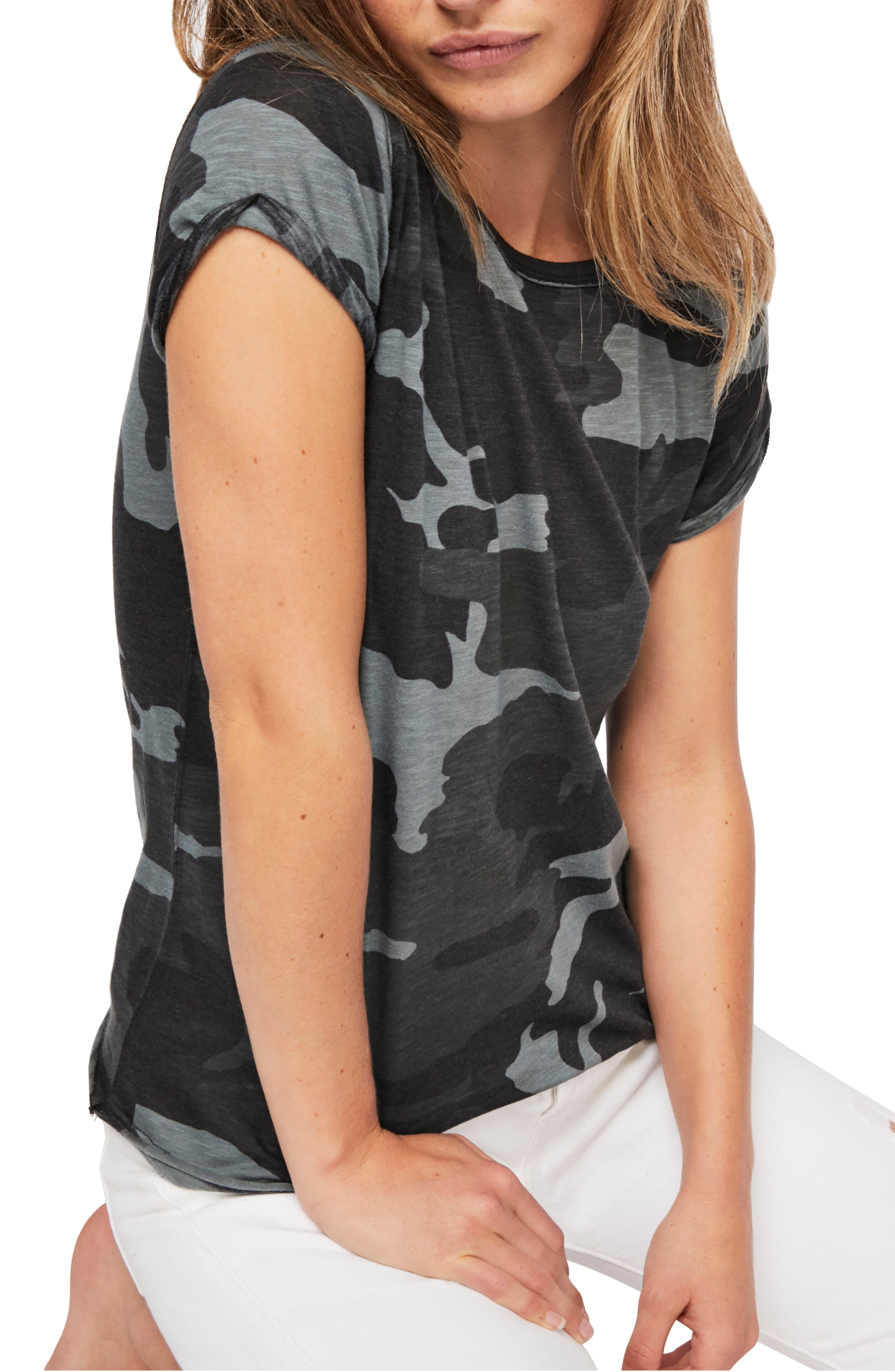 Image of Free People Clare Camo Cap Sleeve T-Shirt