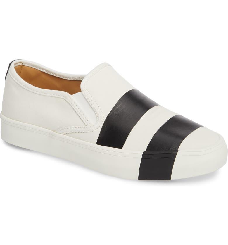 THE OFFICE OF ANGELA SCOTT The Hammonds Slip-On Sneaker, Main, color, BLACK/ WHITE
