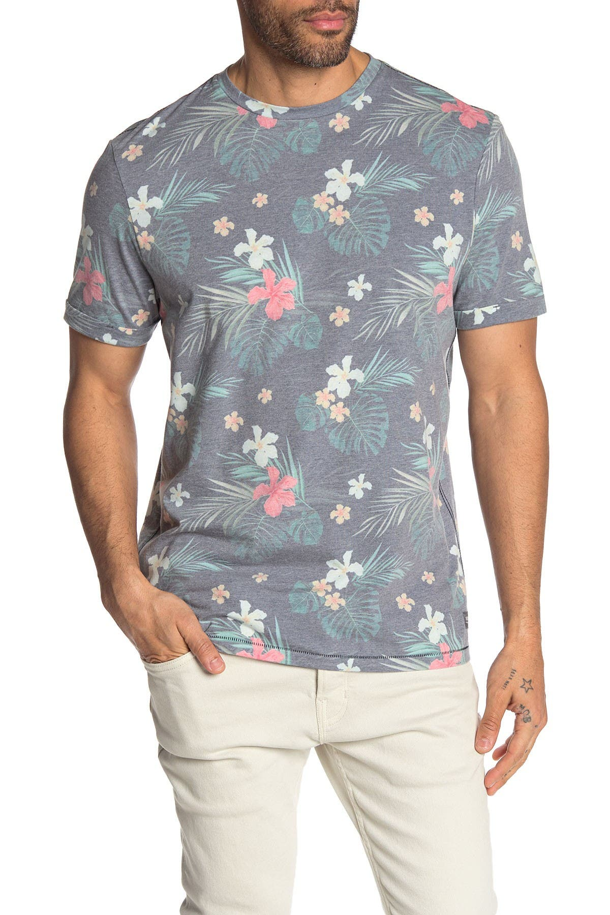 Image of Report Collection Hawaiian Print Crew Neck T-Shirt