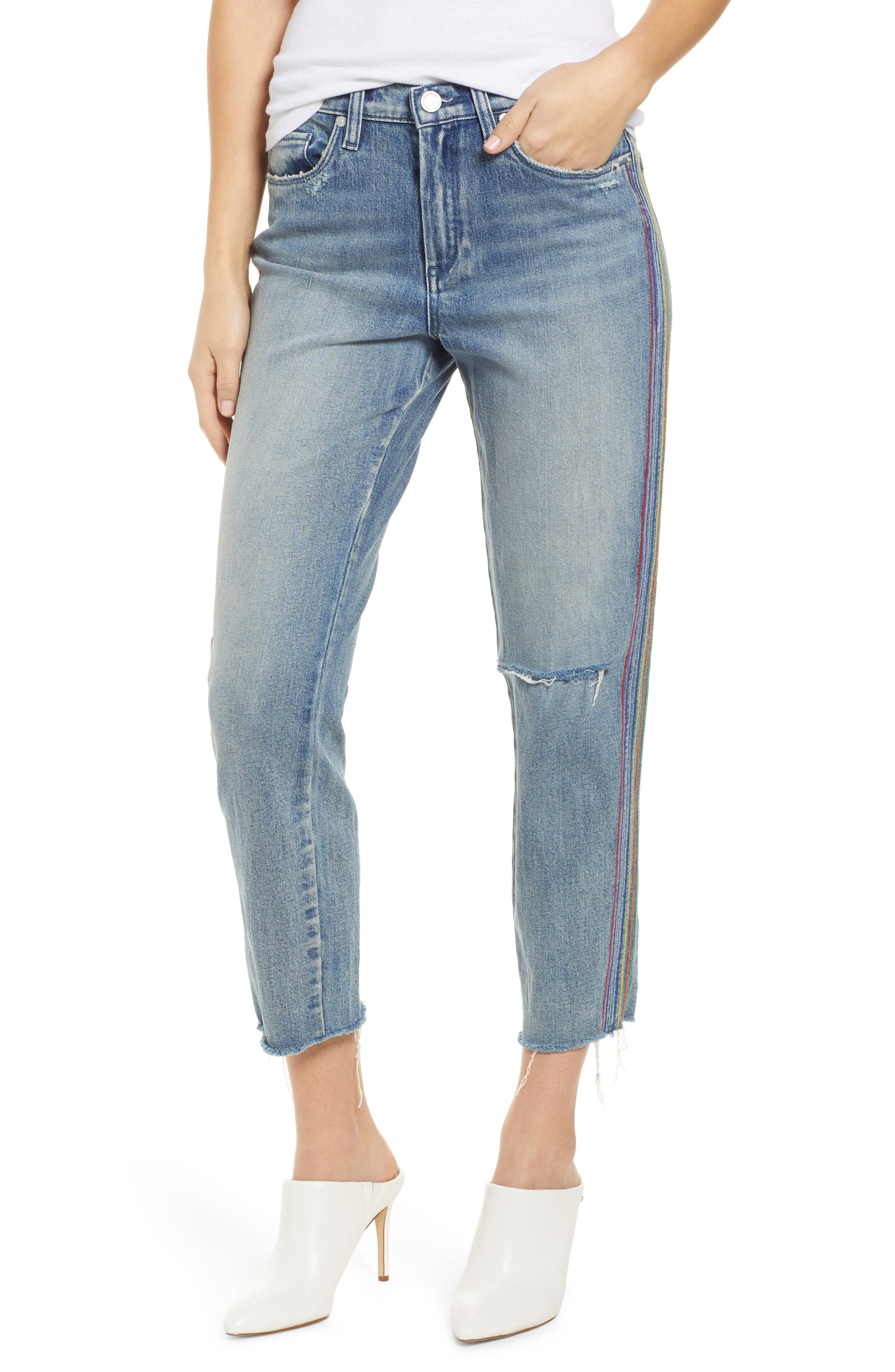 Rainbow Side Seam Ripped Straight Leg Jeans, Main, color, 400