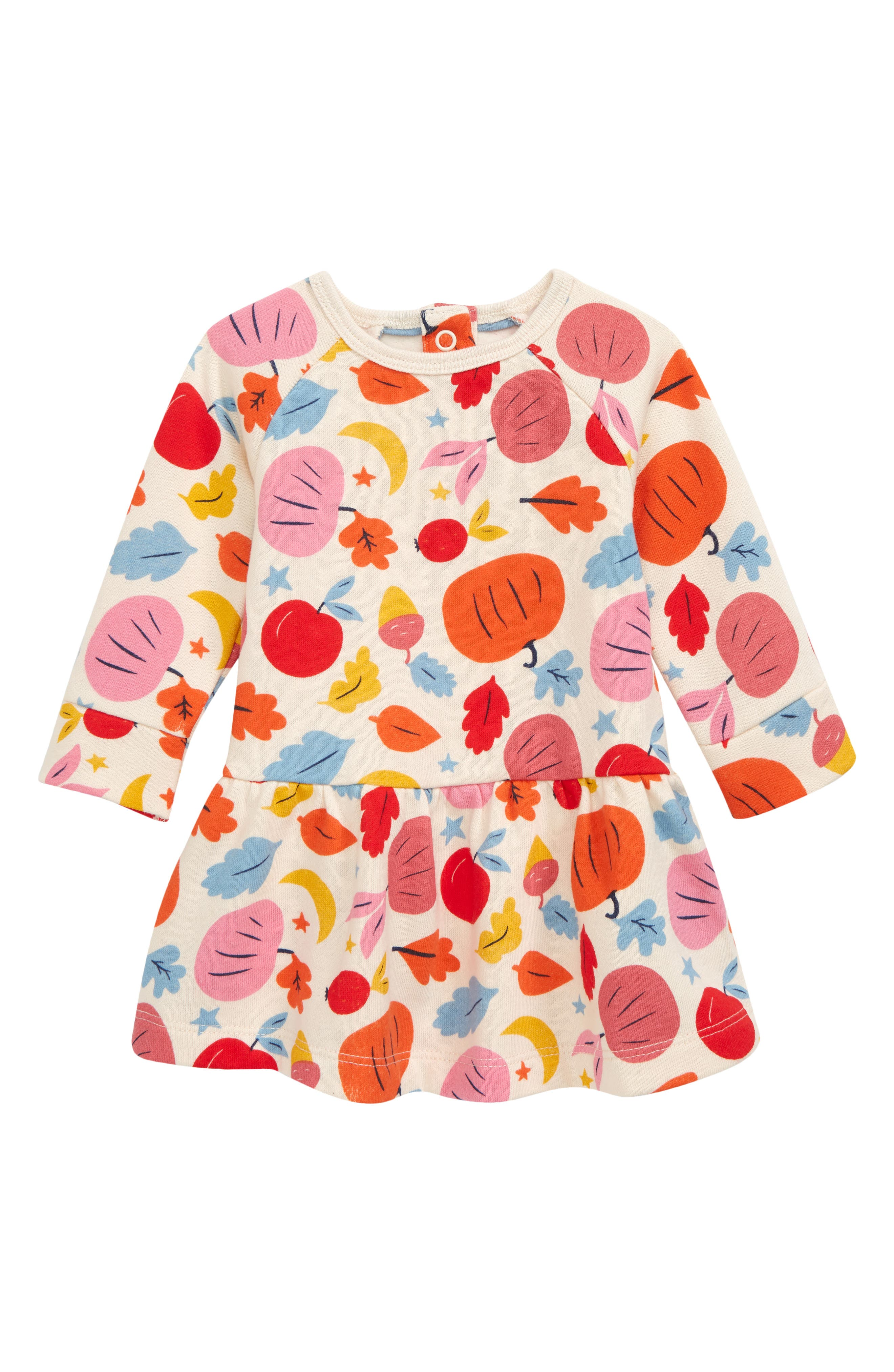 Baby will feel festive for fall in a colorful rib-trimmed dress cut from cotton-blend jersey and perfect for layering. Style Name: Mini Boden Print Jersey Dress (Baby). Style Number: 6096417. Available in stores.