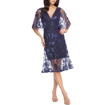 Dress The Population Roseanna Lace Sequin Fit & Flare Dress, Blue