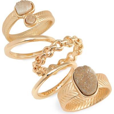 Bp. Set Of 5 Drusy Rings