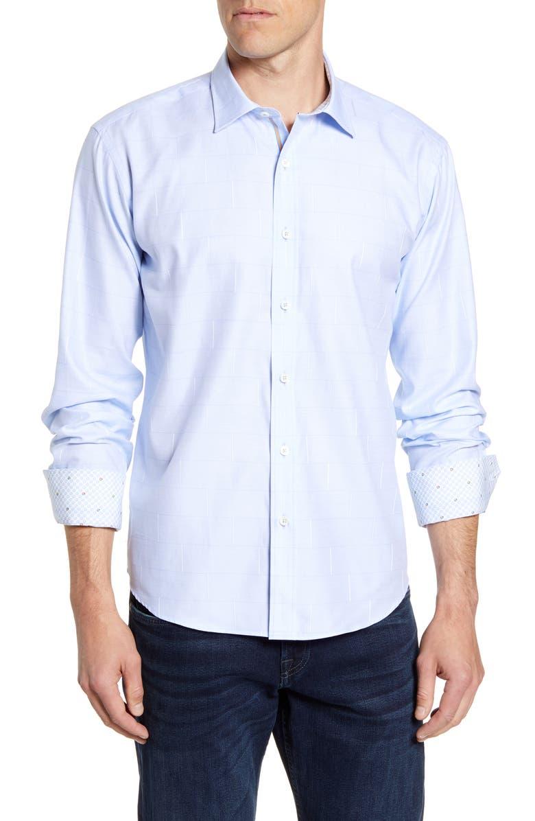 BUGATCHI Shaped Fit Brick Print Button-Up Shirt, Main, color, 459