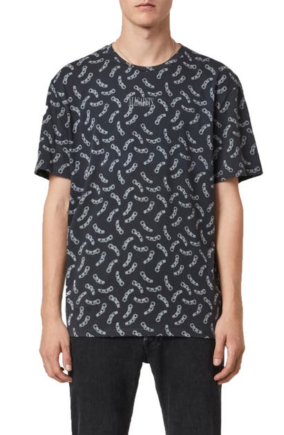 Allsaints Bonds Chain T-shirt In Black/ Off White
