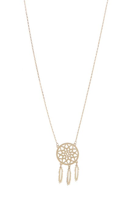 Image of KARAT RUSH 14K Yellow Gold Dream Catcher Pendant Necklace