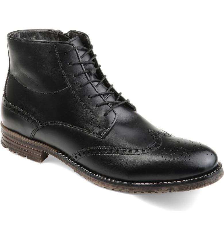 THOMAS & VINE Ryker Wingtip Boot, Main, color, BLACK LEATHER