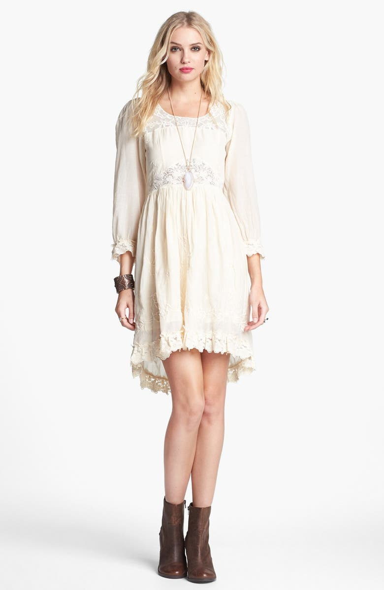 FREE PEOPLE 'Montana' Embroidery & Lace Cotton High/Low Dress, Main, color, 142