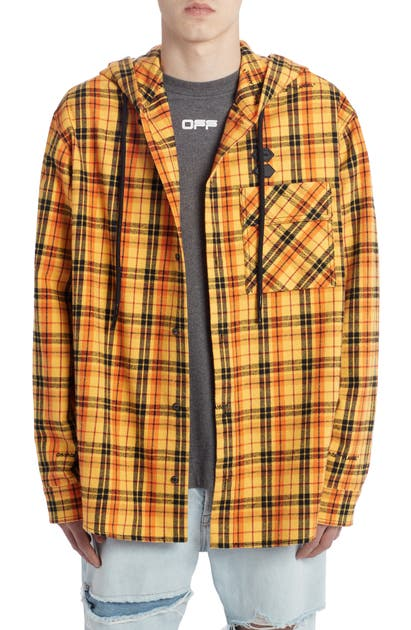 Off-White Knits HOODED CHECK FLANNEL BUTTON-UP SHIRT