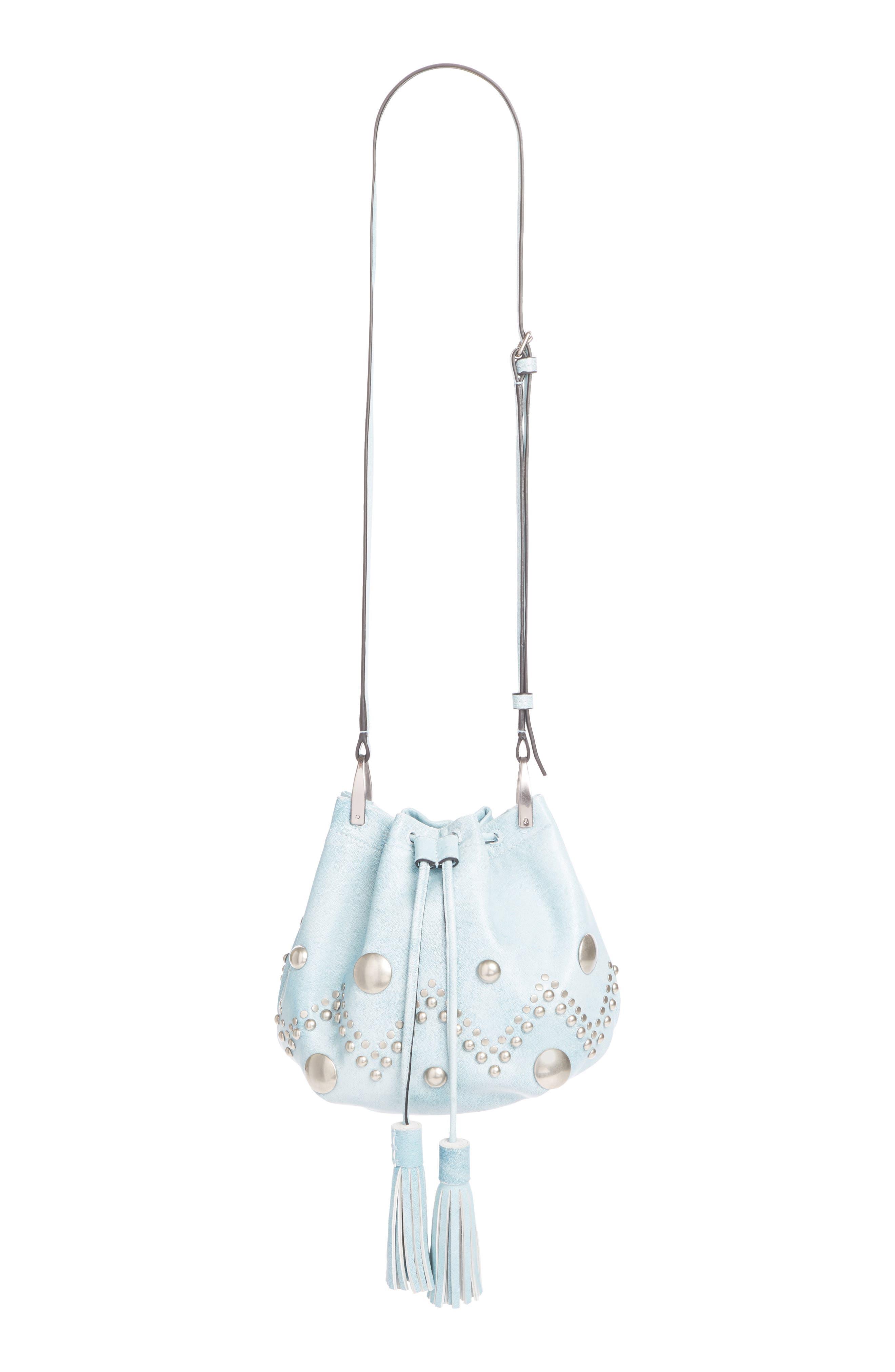 Kylio Studded Lambskin Suede Bucket Bag, Main, color, BLUE