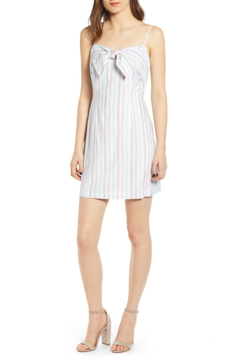 CUPCAKES AND CASHMERE Soleil Stripe Slipdress, Main, color, 100