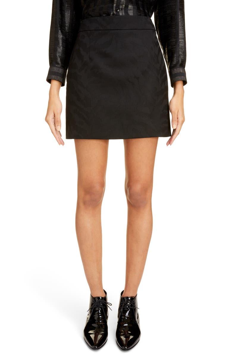 SAINT LAURENT Shadow Tiger Stripe Wool Miniskirt, Main, color, NOIR
