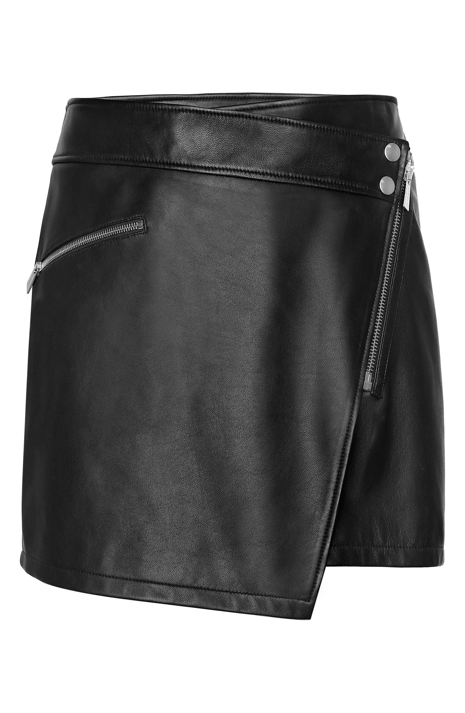 ANINE BING Sarah Zip Front Leather Miniskirt, Main, color, BLACK