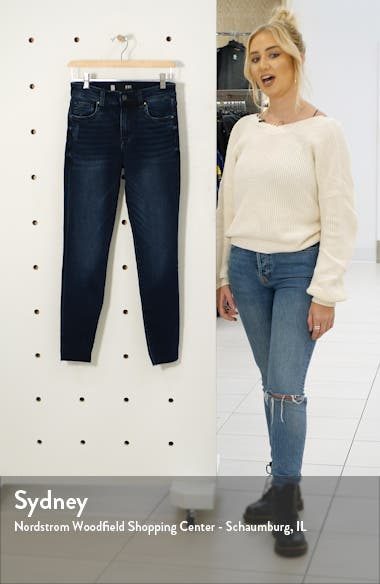 Connie High Waist Raw Hem Ankle Skinny Jeans, sales video thumbnail