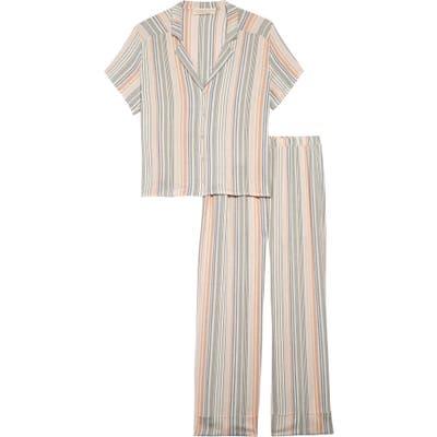 Saltwater Luxe Stripe Crop Pajamas, Green